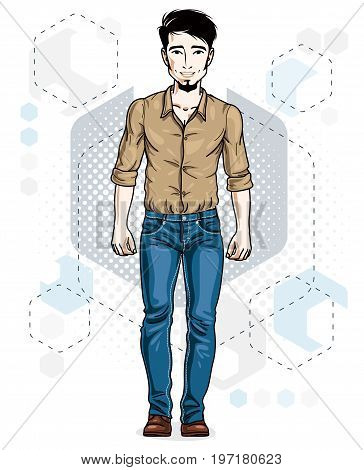 Confident handsome brunet young man standing. Vector illustration of male with beard wearing casual clothes jeans pants and cotton shirt.