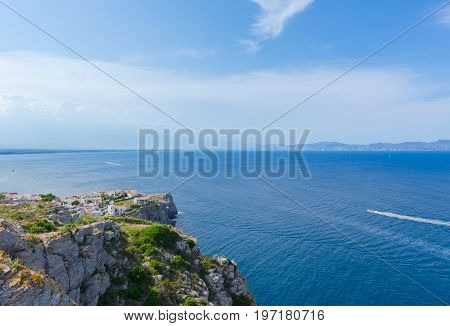 Rosas Gulf in Costa Brava from Montgo Cape .Montgo cape and bay are a natural and awesome place of la Escala and Torroella de Montgri in Girona province, Catalonia, Spain