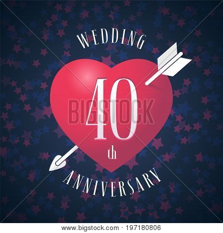 40 years anniversary of being married vector icon, logo. Graphic design element with red color heart and arrow for decoration for 40th anniversary wedding