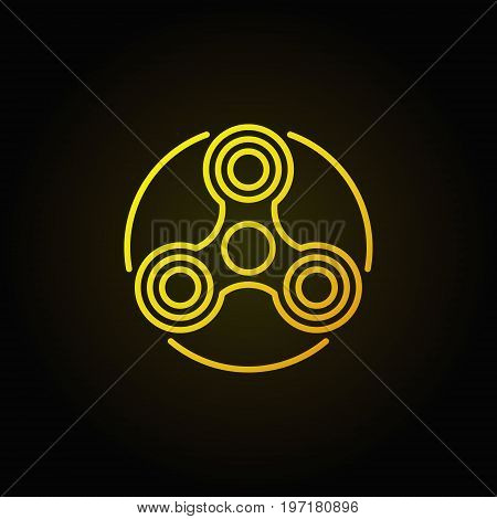 Hand triple spinner yellow icon. Vector colorful fidget spinner linear symbol or logo element on dark background