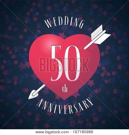50 years anniversary of being married vector icon, logo. Graphic design element with red color heart and arrow for decoration for 50th anniversary wedding