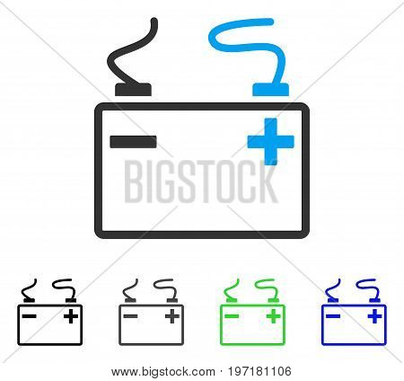 Accumulator flat vector pictogram. Colored accumulator gray, black, blue, green pictogram versions. Flat icon style for web design.