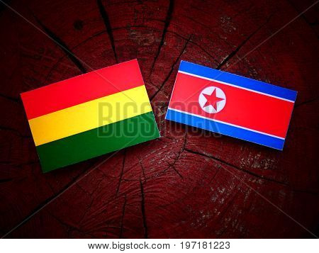 Bolivian Flag With North Korean Flag On A Tree Stump Isolated