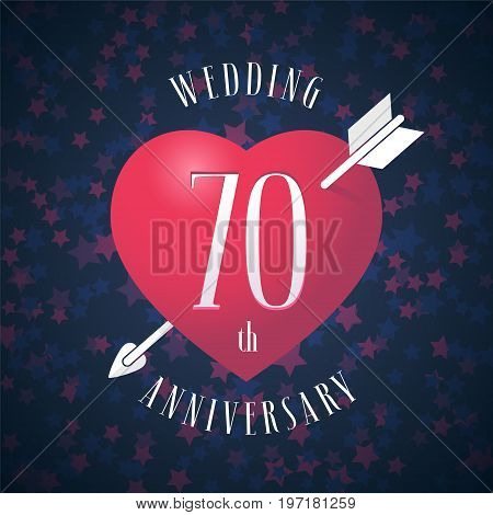 70 years anniversary of being married vector icon, logo. Graphic design element with red color heart and arrow for decoration for 70th anniversary wedding