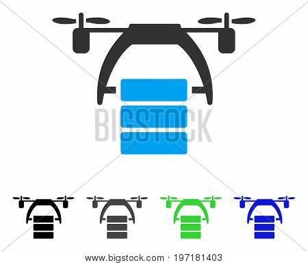 Cargo Drone flat vector illustration. Colored cargo drone gray, black, blue, green icon versions. Flat icon style for web design.