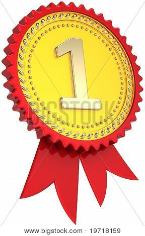 First place award ribbon golden with red border