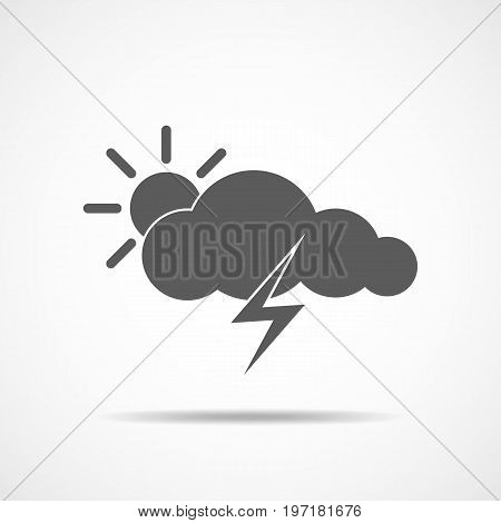 Storm icon in flat design. Gray storm icon on light background. Vector illustration.
