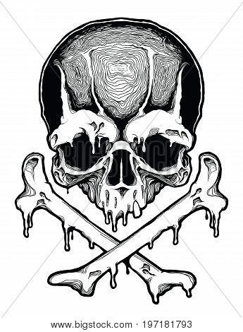 Decorative human skull. Design template for tattoo, print, cover. Vector illustration.