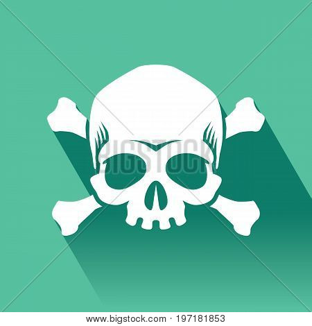Skull and crossbones vector flat icon, Flat design of danger or poison sign.