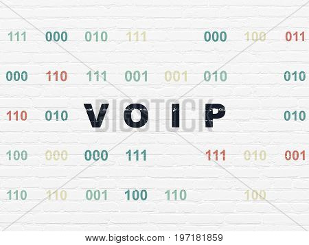Web design concept: Painted black text VOIP on White Brick wall background with Binary Code
