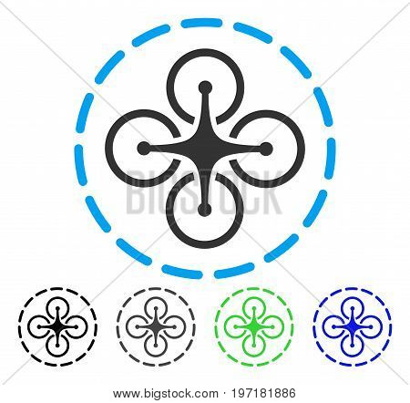Drone Flight flat vector pictogram. Colored drone flight gray, black, blue, green icon variants. Flat icon style for graphic design.