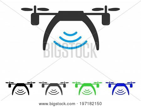 Drone Wifi Repeater flat vector pictograph. Colored drone wifi repeater gray, black, blue, green icon variants. Flat icon style for application design.