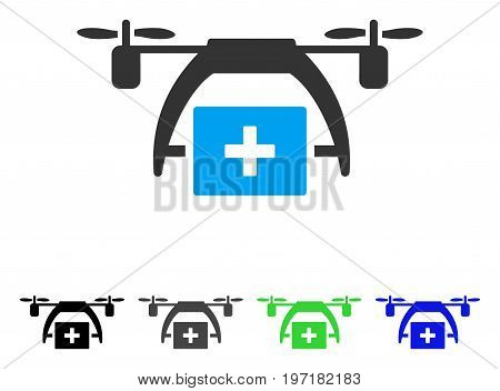 First Aid Drone flat vector illustration. Colored first aid drone gray, black, blue, green icon versions. Flat icon style for web design.