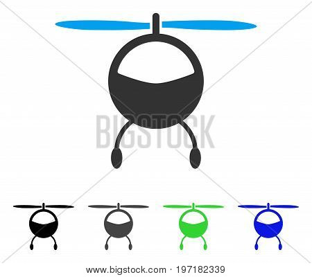 Helicopter flat vector icon. Colored helicopter gray, black, blue, green pictogram variants. Flat icon style for application design.
