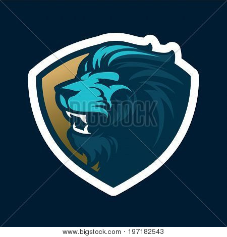 Roaring lion head mascot. Great for sports logo & team mascots.