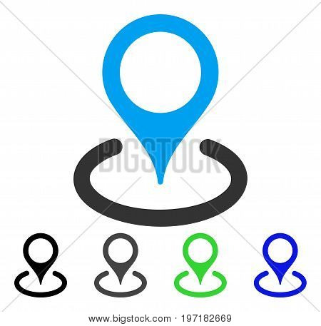 Place Marker flat vector icon. Colored place marker gray, black, blue, green icon versions. Flat icon style for graphic design.