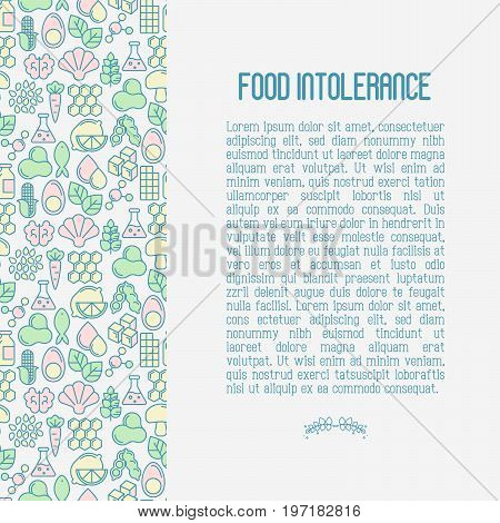 Food intolerance concept with thin line icons of common allergens, sugar and trans fat, vegetarian and organic symbols. Vector illustration.