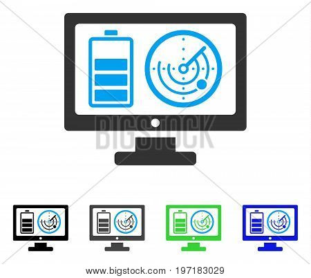 Remote Battery Monitoring flat vector pictograph. Colored remote battery monitoring gray, black, blue, green icon versions. Flat icon style for web design.