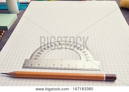 School Copybook Square Lined With Pencil