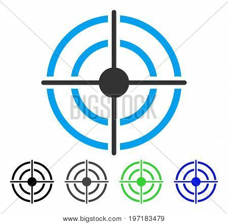Target flat vector icon. Colored target gray, black, blue, green icon versions. Flat icon style for web design.