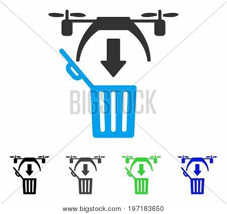 Trash Drone flat vector illustration. Colored trash drone gray, black, blue, green icon versions. Flat icon style for application design.