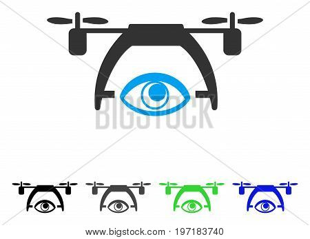 Video Spy Drone flat vector icon. Colored video spy drone gray, black, blue, green pictogram variants. Flat icon style for application design.