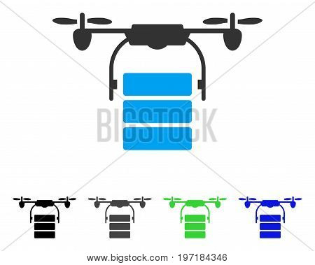 Cargo Drone flat vector pictogram. Colored cargo drone gray, black, blue, green icon versions. Flat icon style for graphic design.