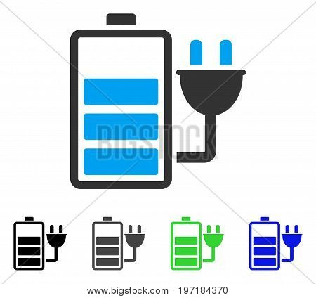 Charge Battery flat vector pictograph. Colored charge battery gray, black, blue, green pictogram versions. Flat icon style for web design.