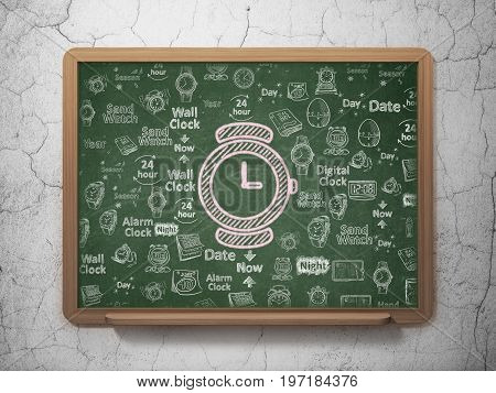 Timeline concept: Chalk Pink Hand Watch icon on School board background with  Hand Drawing Time Icons, 3D Rendering