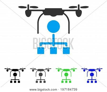 Drone Distribution flat vector illustration. Colored drone distribution gray, black, blue, green pictogram versions. Flat icon style for web design.
