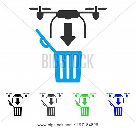 Drone Drop Trash flat vector icon. Colored drone drop trash gray, black, blue, green pictogram versions. Flat icon style for application design.
