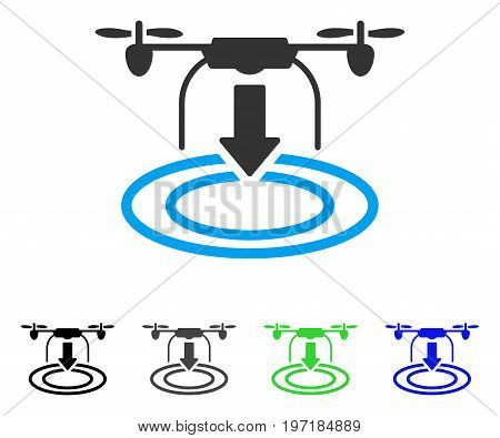 Drone Landing flat vector pictograph. Colored drone landing gray, black, blue, green pictogram variants. Flat icon style for web design.