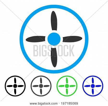 Drone Screw flat vector pictograph. Colored drone screw gray, black, blue, green pictogram versions. Flat icon style for web design.