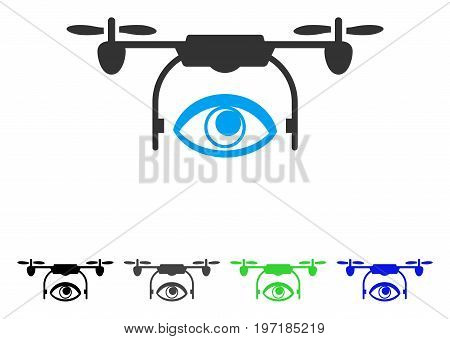 Eye Spy Drone flat vector illustration. Colored eye spy drone gray, black, blue, green pictogram versions. Flat icon style for application design.