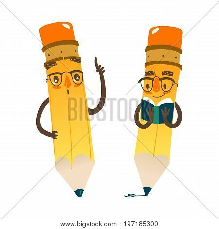 Vector cartoon humanized pencil set with arms and face emotions, keeping book in hands in glasses . Flat isolated illustration on a white background. Happy, smiling character, Back to school concept