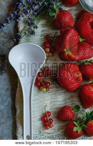 Fresh ripe strawberries prepared for making jam. Served with sugar, lavender, red currant, white plastic spoon on gauze over gray metal background. Preserving concept. Top view. Rustic, day light