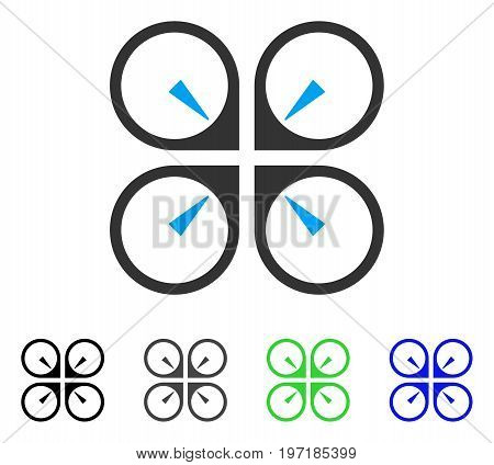 Hover Drone flat vector icon. Colored hover drone gray, black, blue, green icon variants. Flat icon style for web design.