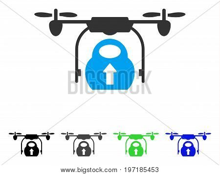 Load Cargo Drone flat vector illustration. Colored load cargo drone gray, black, blue, green icon variants. Flat icon style for application design.
