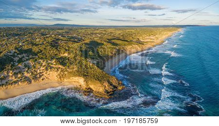 Aerial panorama of beautiful ocean coastline in Melbourne Australia