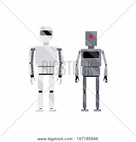 Two modern shiny white and metal grey robot characters, cartoon vector illustration isolated on white background. Friendly modern shiny white and retro metal grey robots, cartoon style illustration