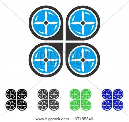 Nanocopter Screws Rotaion flat vector pictograph. Colored nanocopter screws rotaion gray, black, blue, green icon variants. Flat icon style for application design.