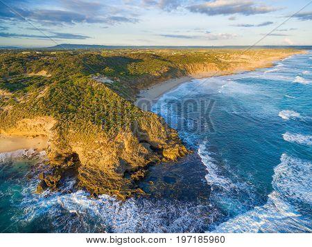 Aerial view of rugged coastline in Australia