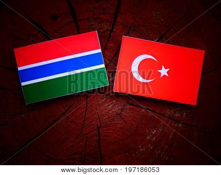 Gambian Flag With Turkish Flag On A Tree Stump Isolated