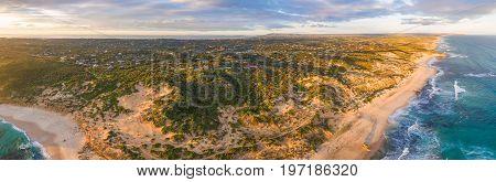 Aerial panorama of Rye suburb on Mornington Peninsula at sunset. Melbourne Australia