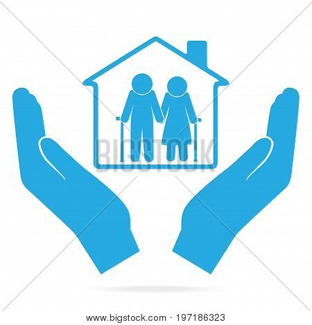 Nursing home for elderly in hand blue icon