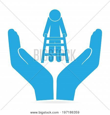 Elderly man and walker in hand blue icon voice sign. protection care concept