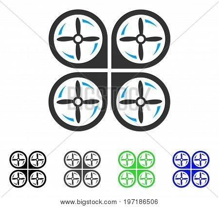 Quadrotor Screws Rotation flat vector pictograph. Colored quadrotor screws rotation gray, black, blue, green pictogram versions. Flat icon style for graphic design.
