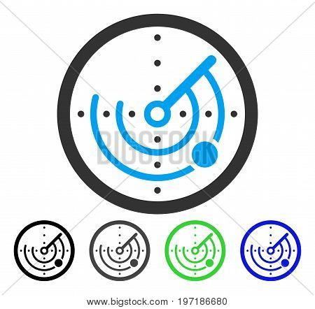 Radar flat vector pictograph. Colored radar gray, black, blue, green pictogram versions. Flat icon style for application design.