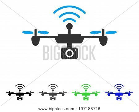 Radio Camera Airdrone flat vector pictogram. Colored radio camera airdrone gray, black, blue, green pictogram versions. Flat icon style for web design.