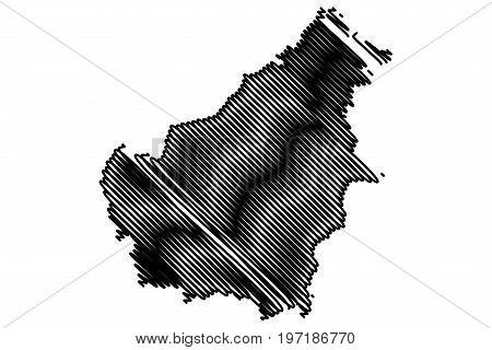 Borneo map vector illustration , scribble sketch Borneo